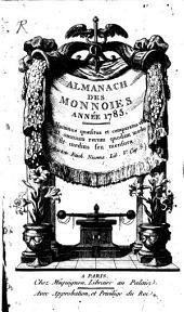 Almanach des monnoies: année ... 1785