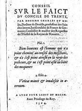 Conseil svr le faict dv Concile de Trente