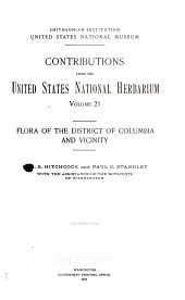Flora of the District of Columbia and Vincinity: Volume 21