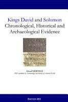 Kings David and Solomon  Chronological  Historical and Archaeological Evidence PDF