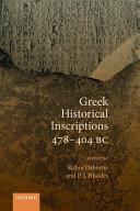 Greek Historical Inscriptions 478-404 BC
