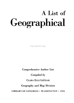 A List of Geographical Atlases in the Library of Congress  Comprehensive author list