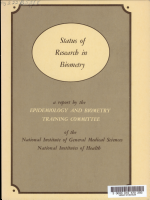 Status of Research in Biometry  A Report by the Epidemiology and Biometry Training Committee of the National Institute of General Medical Sciences PDF