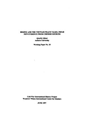 Beijing and the Vietnam Peace Talks  1965 68