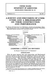 A Survey and Discussion of Lysimeters and a Bibliography on Their Construction and Performance