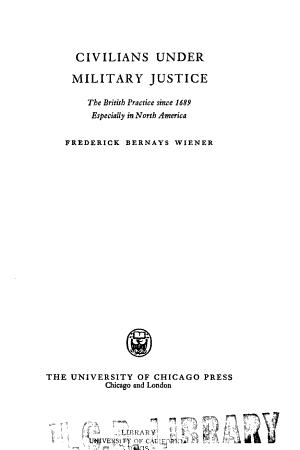 Civilians Under Military Justice PDF