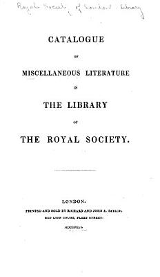 Catalogue of Miscellaneous Literature in the Library PDF