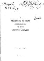 A Giuseppina De-Negri nelle sue nozze col Signor Leonardo Lombardo