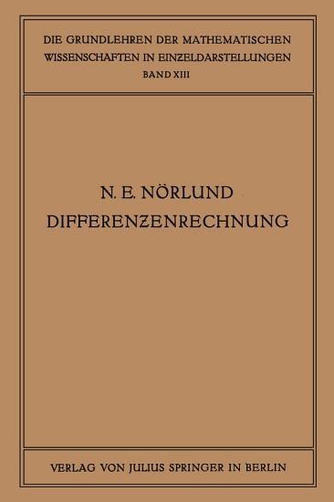 Vorlesungen   ber Differenzenrechnung PDF