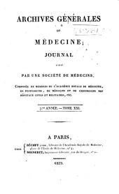 Archives générales de médecine: Volume21
