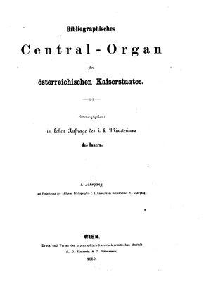 Bibliographisches Centralorgan des   sterreichischen Kaiserstaates PDF