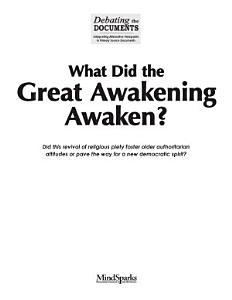 What Did the Great Awakening Awaken  Book