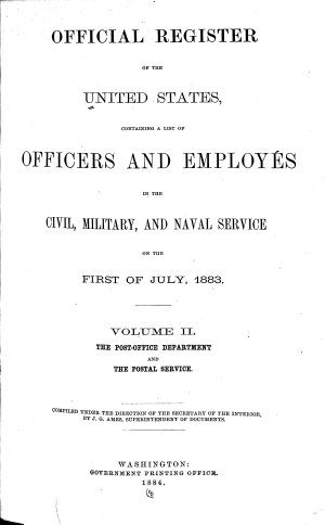Register of Officers and Agents  Civil  Military  and Naval  in the Service of the United States  on the