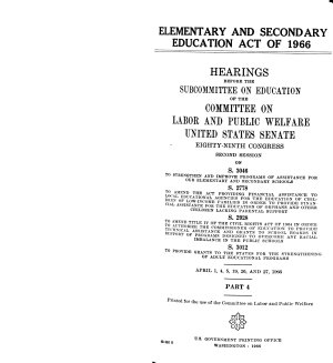 Elementary and Secondary Education Act of 1966  Hearings Before the Subcommittee on Education PDF