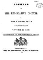 Journal of the Legislative Council of the Province of Prince Edward Island PDF