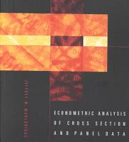 Econometric Analysis of Cross Section and Panel Data PDF