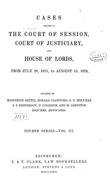 Download Cases Decided in the Court of Session Book