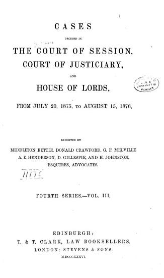 Cases Decided in the Court of Session PDF