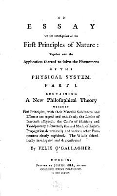 An Essay on the Investigation of the First Principles of Nature PDF