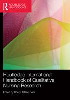 Routledge International Handbook of Qualitative Nursing Research PDF