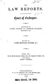 The Law Reports: Court of Exchequer, Volume 6