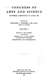 Congress of Arts and Science: Universal Exposition, St. Louis, 1904, Volume 1