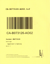 California. Court of Appeal (2nd Appellate District). Records and Briefs: B073126, Appellant's Opening, 02