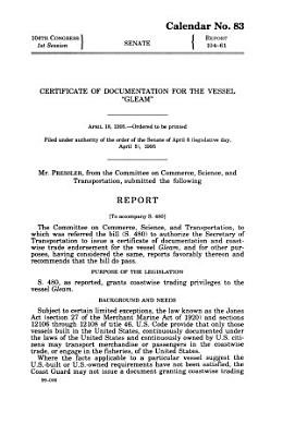 Certificate of Documentation for the Vessel  Gleam