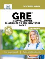 GRE Analytical Writing  Solutions to the Real Essay Topics   Book 2  PDF