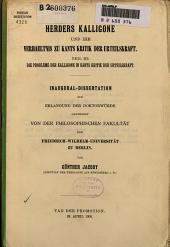 Herders Kalligone und ihr Verhaeltnis zu Kants Kritik der Urteilskraft: Teil III: Die Probleme der Kalligone in Kants Kritik der Urteilskraft