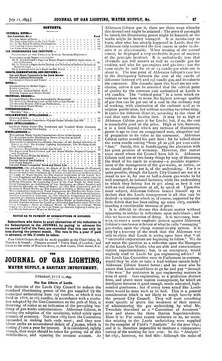 The Journal of Gas Lighting, Water Supply & Sanitary Improvement