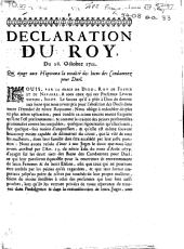 Déclaration du Roy, du 28. octobre 1711. Qui ajuge aux hôpitaux la totalité des biens des condamnez pour duel