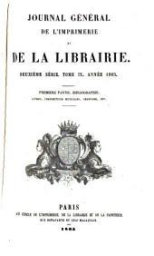 Journal général de l'imprimerie et de la librairie: Volume9,Numéro1