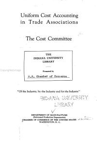 Uniform Cost Accounting in Trade Associations