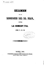 Examen de las lecciones del Dr. Frau contra la homeopatía