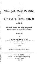 Das H eili g Geist Hospital und das St  Clemens Kaland zu L  beck PDF