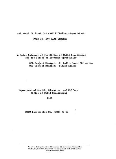 Abstracts of State Day Care Licensing Requirements  Day care centers PDF