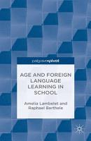 Age and Foreign Language Learning in School PDF