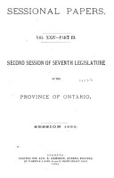 Sessional Papers     of the Legislative Assembly of the Province of Ontario     PDF