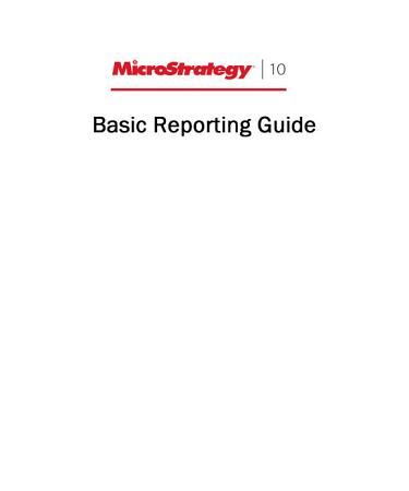 Basic Reporting Guide for MicroStrategy 10 PDF