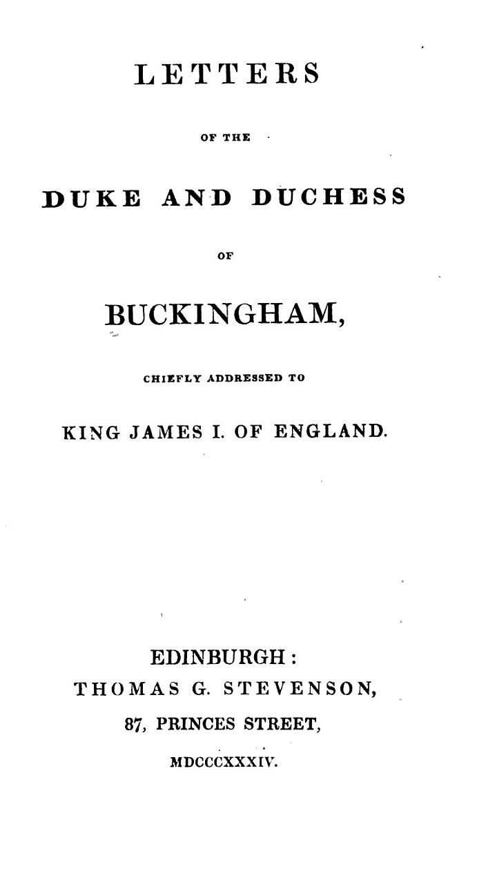Letters of the Duke and Duchess of Buckingham