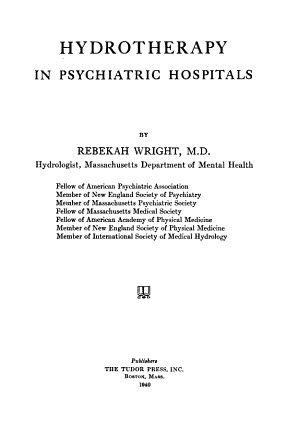 Hydrotherapy in Psychiatric Hospitals