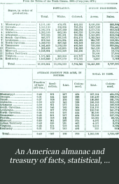 American Almanac and Treasury of Facts, Statistical, Financial, and Political, for ... 1878-89