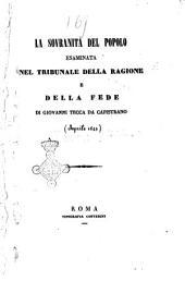 La sovranità del popolo esaminata nel tribunale della ragione e della fede (aprile 1849)