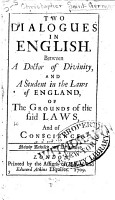 Two Dialogues in English Between a Doctor of Divinity and a Student in the Laws of England PDF