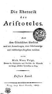 Die Rhetorik des Aristoteles: Erster Band, Band 1
