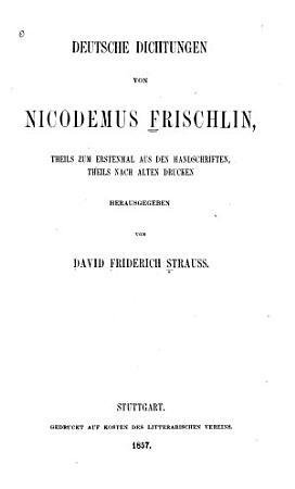Deutsche Dichtungen von Nicodemus Frischlin PDF