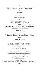 Descriptive Catalogue of the Books in His Library