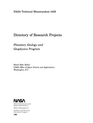 Directory of Research Projects  Planetary Geology and Geophysics Program