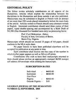 Nigerian Journal of the Humanities PDF
